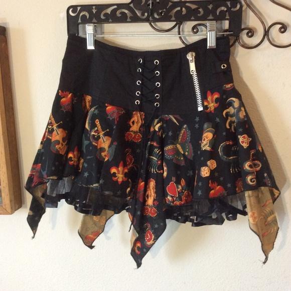 LIVING DEAD SOULS Tattoo Art Mini Gothic Skirt
